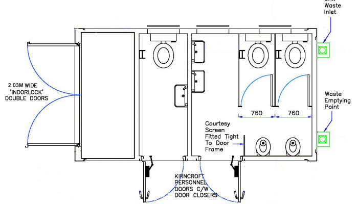ecoCABIN 2 + 1 toilet block plan